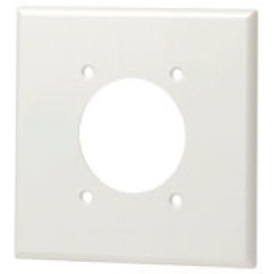 Leviton 80526-W Leviton 80526-W Standard Size 2-Gang Single Receptacle Plate; Device Mount, Thermoset, White
