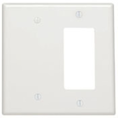 Leviton 80608-W Leviton 80608-W Decora® 2-Gang Midway-Size Combination Wallplate; Strap Mount, Thermoset Plastic, White