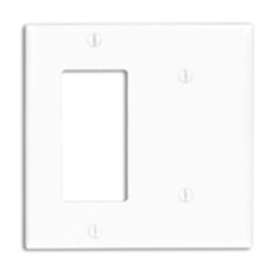 Leviton 80708-T Leviton 80708-T Decora® 2-Gang Standard-Size Combination Wallplate; Strap Mount, Thermoplastic Nylon, Light Almond