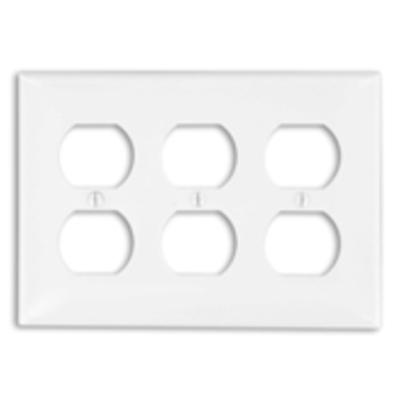 Leviton 80730-W Leviton 80730-W 3-Gang Standard-Size Duplex Receptacle Wallplate; Device Mount, Thermoplastic Nylon, White