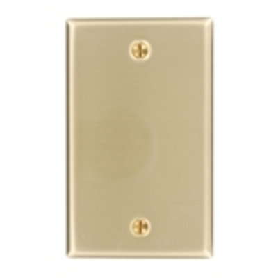 Leviton 81014 Leviton 81014 1-Gang Blank Wallplate; Box Mount, Brass