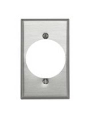 Leviton 83028 Leviton 83028 Standard Size 1-Gang Single Receptacle Plate; Device Mount, Aluminum