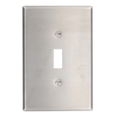 Leviton 84101-40 Leviton 84101-40 1-Gang Oversized Toggle Switch Wallplate; Device Mount, Stainless Steel, Silver
