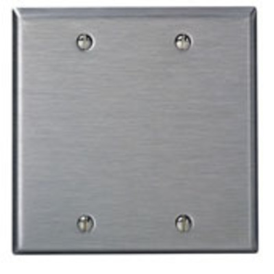 Leviton 84125-40 Leviton 84125-40 2-Gang Oversized No Device Blank Wallplate; Box Mount, Stainless Steel, Silver