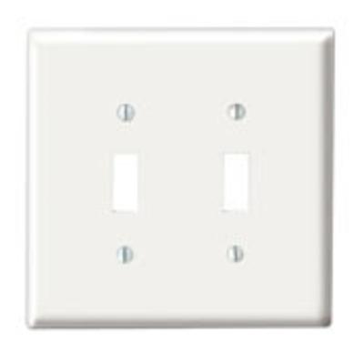 Leviton 88009 Leviton 88009 2-Gang Standard-Size Toggle Switch Wallplate; Device Mount, Thermoset Plastic, White