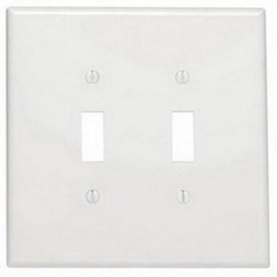 Leviton 88109 Leviton 88109 2-Gang Oversized Toggle Switch Wallplate; Device Mount, Thermoset Plastic, White
