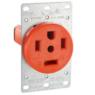 Leviton 9460-IG Leviton 9460-IG Three Pole Isolated Ground Straight Blade Receptacle; Flush Mount, 125/250 Volt, 60 Amp, Orange