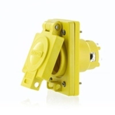 Leviton 99W76-S Leviton 99W76-S Wetguard® Grounding Locking Single Outlet With Cover; 30 Amp, 480 Volt, 4-Wire, NEMA L16-30R, 4/4X/12, Yellow