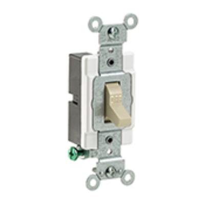 Leviton CS115-2I Leviton CS115-2I Commercial Toggle AC Quiet Light Switch; 1-Pole, 120/277 Volt AC, 15 Amp, Ivory