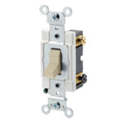 Leviton CSB3-15I Leviton CSB3-15I Commercial Toggle 3-Way AC Quiet Switch; 1-Pole, 120/277 Volt AC, 15 Amp, Ivory