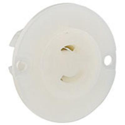 Leviton ML1-PER Leviton ML1-PER MiniLock™ Black & White™ Non-Grounding Midget Locking Outlet; 15 Amp, 125 Volt, 2-Wire, NEMA ML-1R, White