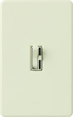 Lutron AY-600PH-LA Lutron AY-600PH-LA Ariadni® Single Pole Preset Slide Dimmer with Toggle Switch; 120 Volt AC, 600 Watt, Incandescent/Halogen, Light Almond