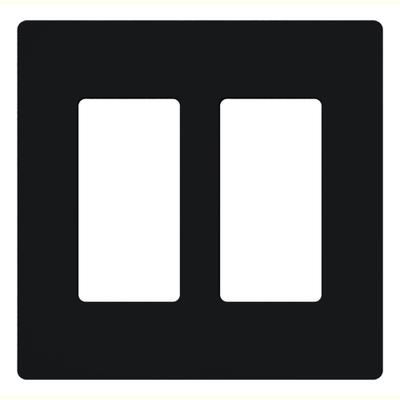 Lutron CW-2-BL Lutron CW-2-BL Designer Claro® 2-Gang Screwless Decorator Wallplate; Wall Mount, Plastic, Black