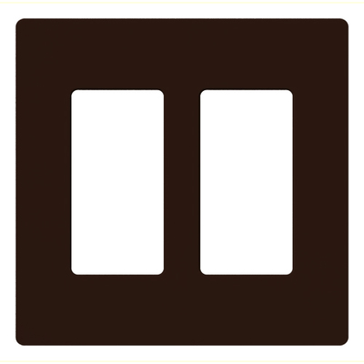 Lutron CW-2-BR Lutron CW-2-BR Designer Claro® 2-Gang Screwless Decorator Wallplate; Device Mount, Plastic, Brown
