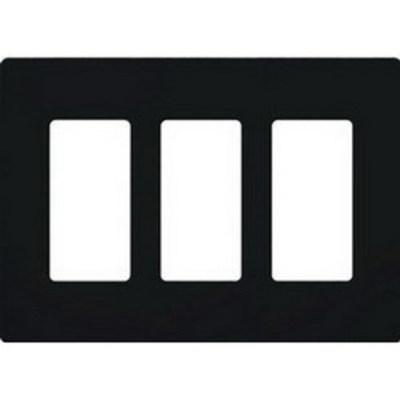 Lutron CW-3-BL Lutron CW-3-BL Designer Claro® 3-Gang Screwless Decorator Wallplate; Wall Mount, Plastic, Black