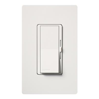 Lutron DV-600P-WH Lutron DV-600P-WH Diva® Single Pole Preset Slide Dimmer with Paddle On/Off Switch; 120 Volt AC, 600 Watt, Incandescent/Halogen, White
