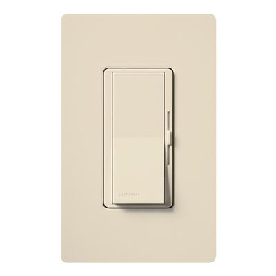 Lutron DV-600PH-LA Lutron DV-600PH-LA Diva® Single Pole Preset Slide Dimmer with Paddle On/Off Switch; 120 Volt AC, 600 Watt, Incandescent/Halogen, Light Almond
