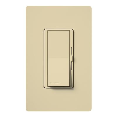 Lutron DV-603P-IV Lutron DV-603P-IV Diva® Single Pole 3-Way Preset Slide Dimmer with Paddle On/Off Switch; 120 Volt AC, 600 Watt, Incandescent/Halogen, Ivory