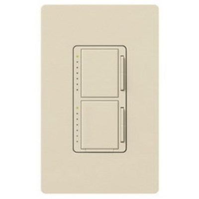 Lutron MA-L3L3-LA Lutron MA-L3L3-LA Maestro® Single Pole Dual Digital Tap On/Off Fade Dimmer Switch; 120 Volt AC, (2) 300 Watt, Incandescent/Halogen, Light Almond