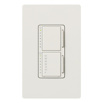 Lutron MA-L3T251-WH Lutron MA-L3T251-WH Maestro® Single Pole Digital Fade Tap On/Off Dimmer with Timer Switch; 120 Volt AC, 300 Watt, 2.5 Amp, Incandescent/Halogen, White