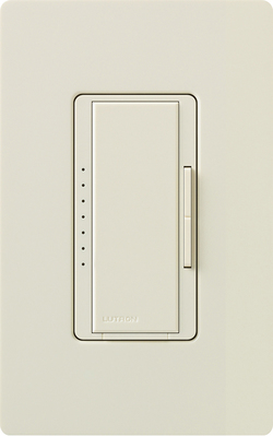 Lutron MALV-1000-LA Lutron MALV-1000-LA Maestro® Digital Fade Dimmer; 120 Volt, 800 Watt, 1 Pole, Light Almond Color Gloss Finish