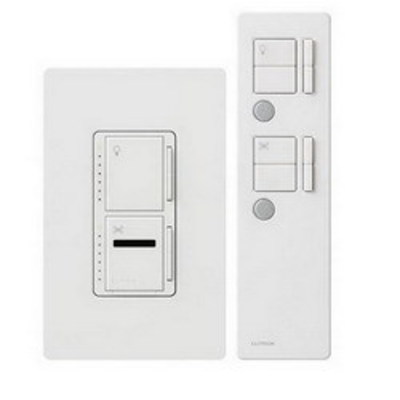Lutron MIR-LFQTHW-WH Lutron MIR-LFQTHW-WH Maestro IR® Quiet 7-Speed Designer Style Preset Dual Digital Fade Dimmer/Fan Control; 120 Volt AC, 1 Amp Fan Control, 300 Watt Light, Single Pole, Tap On/Off, White