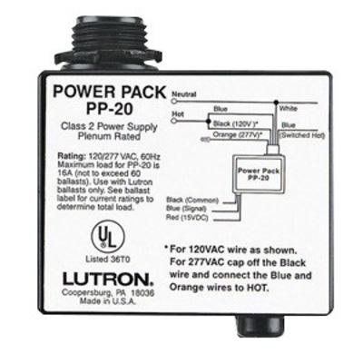 Lutron PP-20 Lutron PP-20 Power Pack; 120/227 Volt AC Input, 15 Volt DC Output, 16 Amp