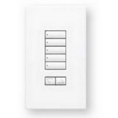 Lutron QSWS2-5BRLI-WH Lutron QSWS2-5BRLI-WH See Touch® 5 Buttons Keypad With Raise/Lower; 24 Volt DC, White Color