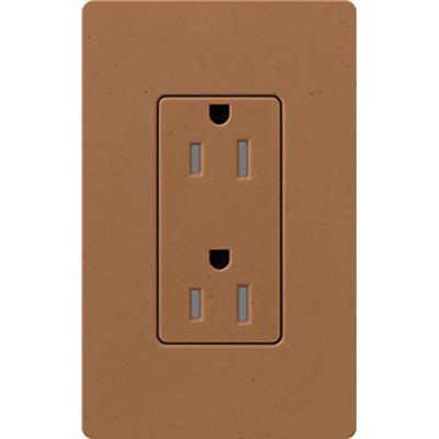 Lutron SCRS-15-TR-TC Lutron SCRS-15-TR-TC Designer Satin Colors® Tamper-Resistant Duplex Receptacle; Wallbox Mount, 125 Volt, 15 Amp, Terra Cotta