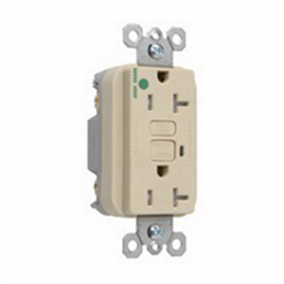 PASS & SEYMOUR WIRING DEVICES 2095-HGTRI Pass & Seymour 2095-HGTRI Double Pole GFCI Receptacle; Wall Mount, 125 Volt, 20 Amp, Ivory