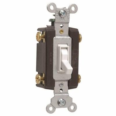 PASS & SEYMOUR WIRING DEVICES 664-WG Pass & Seymour 664-WG tradeMaster® 4-Way Toggle Switch; 4-Pole, 120 Volt AC, 15 Amp, White