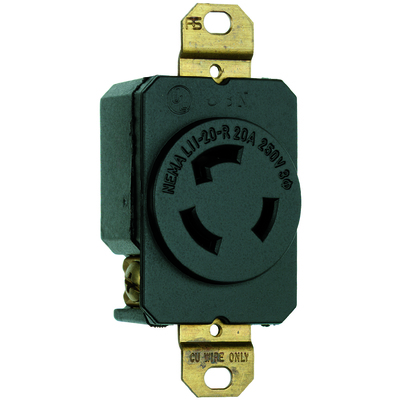 PASS & SEYMOUR WIRING DEVICES L1120-R L1120-R P-S TURNLOK RECEPTACLE 3W 20A 3P 250V