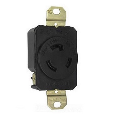 PASS & SEYMOUR WIRING DEVICES L520-RR Pass & Seymour L520-RR Locking Single Receptacle; Round Portable Service Cord Mount, 125 Volt, 20 Amp, 2-Pole, 3-Wire, NEMA L5-20RR, Gray