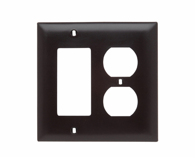 PASS & SEYMOUR WIRING DEVICES TP826-RED Pass & Seymour TP826-RED Trademaster® 2-Gang Standard-Size Combination Wallplate; Wall Mount, Thermoplastic Nylon, Red