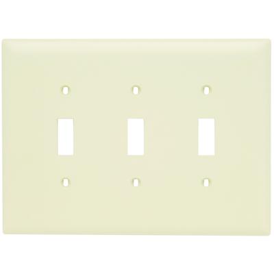 PASS & SEYMOUR WIRING DEVICES TPJ3-LA Pass & Seymour TPJ3-LA TradeMaster® 3-Gang Jumbo-Size Toggle Switch Wallplate; Wall Mount, Thermoplastic, Light Almond