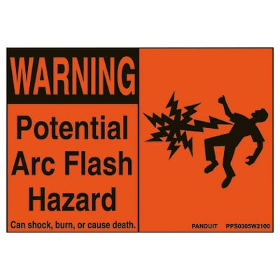 Panduit Wiring Products PPS0305W2100 Panduit PPS0305W2100 Arc Flash Hazard Safety Sign; 3.5 In x 5 In