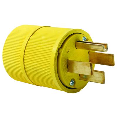 Pass & Seymour Wiring Devices 1451 Pass & Seymour 1451 Gator Grip Plug; 50 Amp, 125/250 Volt, 3-Pole, 4-Wire, NEMA 14-50P, Yellow