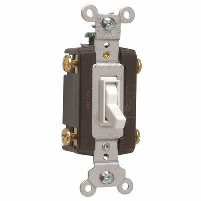 Pass & Seymour Wiring Devices 664-WG Pass & Seymour 664-WG TradeMaster® 4-Way Toggle Switch; 4-Pole, 120 Volt AC, 15 Amp, White