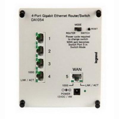 Pass & Seymour Wiring Devices DA1054 On-Q DA1054 Gigabit Router/Switch; 4-Port, Enclosure Mount, Platinum Gray