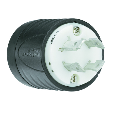 Pass & Seymour Wiring Devices L1730-P Pass & Seymour L1730-P Turnlok® Locking Plug; 30 Amp, 600 Volt AC, 3-Pole, 4-Wire, NEMA L17-30P, Black/White