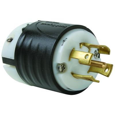 Pass & Seymour Wiring Devices L2230-P Pass & Seymour L2230-P Turnlok® Locking Plug; 30 Amp, 277/480 Volt AC, 4-Pole, 5-Wire, NEMA L22-20, Black/White