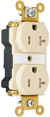 Pass & Seymour Wiring Devices PTTR63 Pass & Seymour PTTR63 PlugTail™ Tamper Resistant Duplex Receptacle; 2-Pole, 3-Wire, 20 Amp, 125 Volt AC, NEMA 5-20R NEMA, Wall Mount, Nylon Face and Back Body