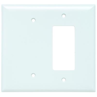 Pass & Seymour Wiring Devices SPO1326-W Pass & Seymour SPO1326-W 2-Gang Combination Wallplate; (1) Blank, (1) Decorator, Box/Strap Mount, Thermoset Plastic, Smooth, White