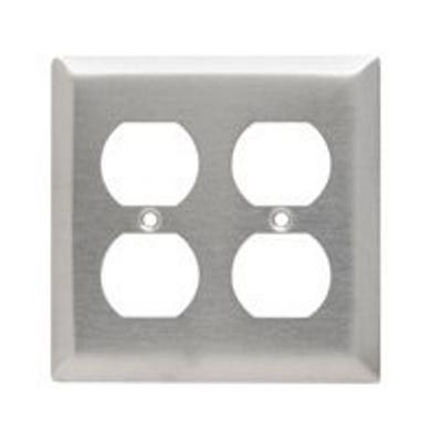 Pass & Seymour Wiring Devices SS82 Pass & Seymour SS82 2-Gang Duplex Receptacle Wallplate; Wall Mount, Stainless Steel, Silver