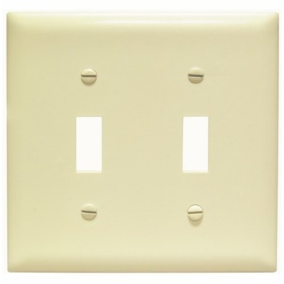 Pass & Seymour Wiring Devices TP2-I Pass & Seymour TP2-I TradeMaster® 2-Gang Standard-Size Toggle Switch Wallplate; Wall Mount, Thermoplastic Nylon, Ivory