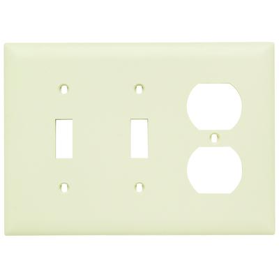 Pass & Seymour Wiring Devices TP28-LA Pass & Seymour TP28-LA Trademaster® 3-Gang Standard-Size Combination Wallplate; Wall Mount, Thermoplastic Nylon, Light Almond
