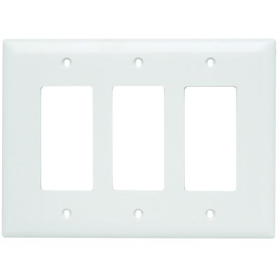 Pass & Seymour Wiring Devices TPJ263-W Pass & Seymour TPJ263-W TradeMaster® 3-Gang Jumbo-Size Decorator Wallplate; Wall Mount, Nylon, White
