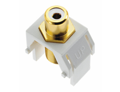 Pass & Seymour Wiring Devices WP3461-WH On-Q WP3461-WH RCA to F-Type Keystone Insert; Wallplate or Strap Mount, White
