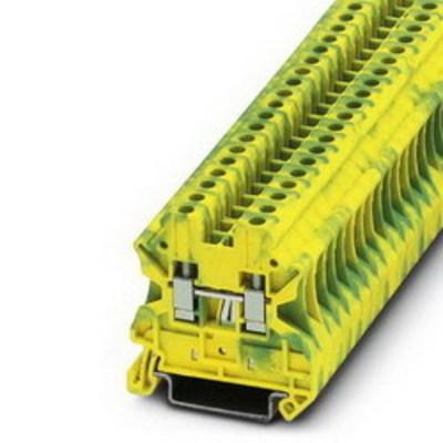 Phoenix Contact 3044128 Phoenix Contact 3044128 Ground Modular Terminal Block, 8 kV Surge, Polyamide, Green/Yellow, 0.14 - 6 mm2