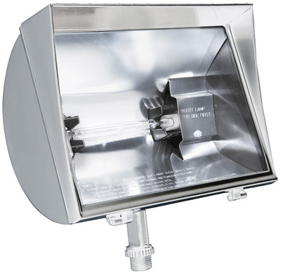 Rab Lighting, Inc. QF500FW RAB QF500FW 1-Light Locking Swivel Mount Quartz Curve Halogen HID Flood Light; 500 Watt, 11000 Lumens, White